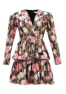 Borgo De Nor Amelia metallic-jacquard floral silk-blend dress