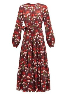 Borgo De Nor Augustina floral-print jacquard-satin midi dress