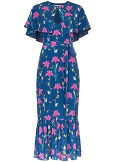 Borgo de Nor blue Margarita crepe floral print cape detail dress