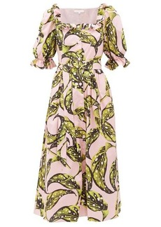 Borgo De Nor Corina leaf-print cotton midi shirtdress