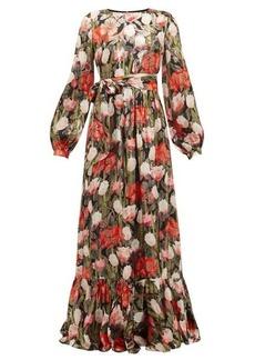 Borgo De Nor Dianora floral-print silk-blend lamé-satin dress