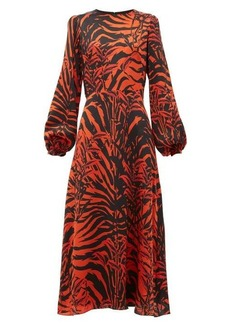Borgo De Nor Elista Panthera-print silk-satin midi dress