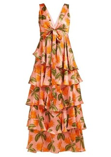 Borgo De Nor Flavia tropical-print hammered-silk gown