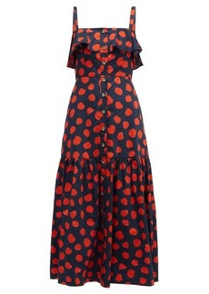 Borgo De Nor Florence ruffled polka-dot cotton midi dress