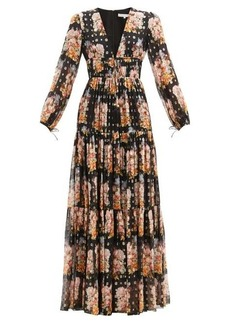Borgo De Nor Freya floral-print tiered silk-blend maxi dress