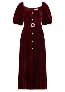 Borgo De Nor Hazel crystal-button velvet midi dress