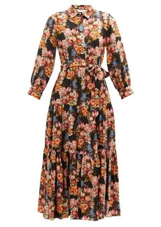 Borgo De Nor Issa floral-print satin-jacquard midi shirt dress
