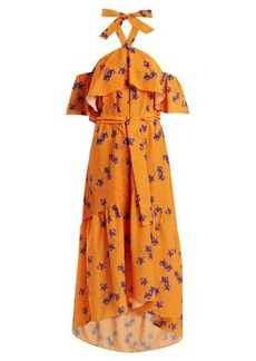 Borgo De Nor Josephine Orchid-print off-the-shoulder dress