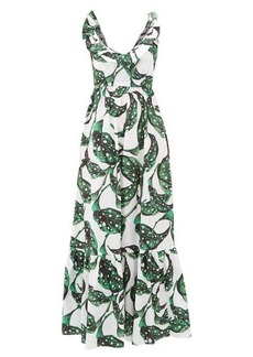 Borgo De Nor Liya leaf-print tie-back ruffled cotton dress