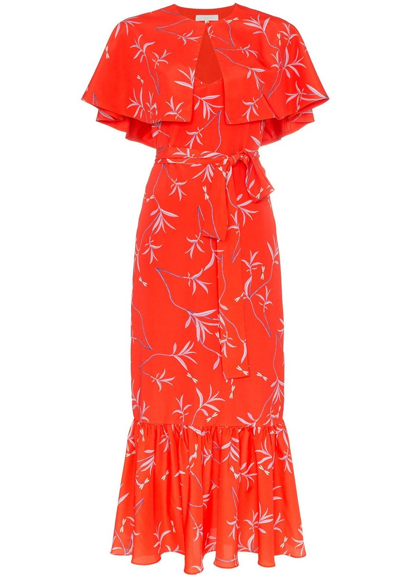 Borgo de Nor Margarita crepe floral print cape detail dress