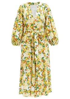 Borgo De Nor Mia Lemonade-print cotton broderie-anglaise dress