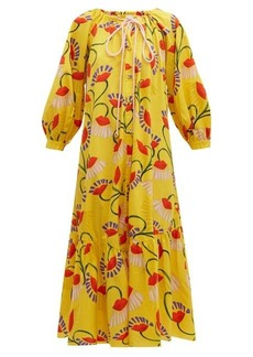 Borgo De Nor Natalia lip and floral-print cotton midi dress