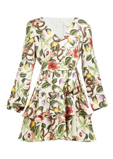 Borgo De Nor Olivia garden-print silk-twill mini dress