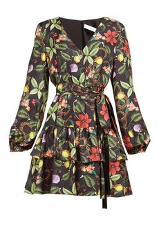 Borgo De Nor Olivia tropical-print tie-waist silk mini dress