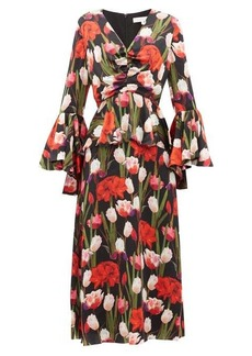 Borgo De Nor Serafina tulip-print silk-cloqué midi dress