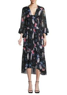 Borgo de Nor Botanical Bird Print High-Low Dress