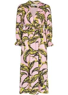 Borgo de Nor Christine ruffled leaf print midi dress