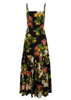 Borgo de Nor Cordelia Lemon Print Poplin Maxi Dress