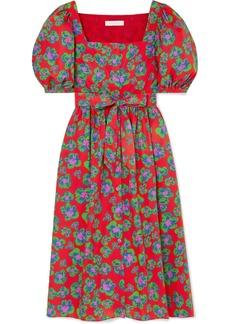 Borgo de Nor Corin Belted Floral-print Cotton-poplin Dress
