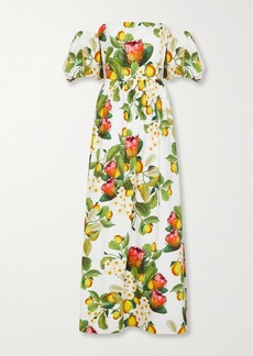 Borgo de Nor Juliet Off-the-shoulder Printed Cotton-poplin Maxi Dress