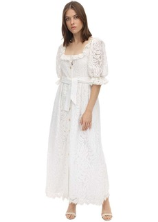 Borgo de Nor Lace Midi Dress W/ Puff Sleeves