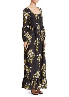 Borgo de Nor Mina Crepe Puff-Sleeve Gown