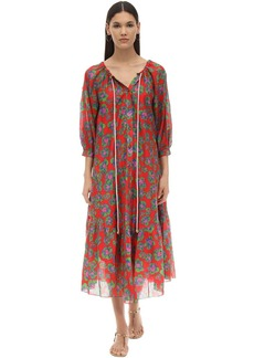 Borgo de Nor Natalia Floral Print Silk & Cotton Dress