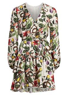 Borgo de Nor Olivia Silk Print Ruffle Dress