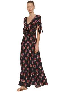 Borgo de Nor Ophelia Bouquet Print Silk Long Dress
