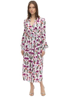 Borgo de Nor Printed Satin Jacquard Midi Dress