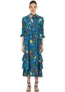 Borgo de Nor Surreal Garden Print Silk Crepe Dress
