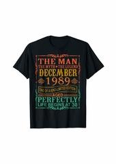 Born 1989 Man Myth Legend December 30th Bday Gifts 30 yrs old T-Shirt
