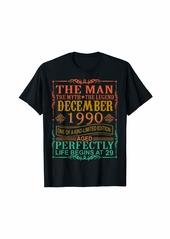 Born 1990 Man Myth Legend December 29th Bday Gifts 29 yrs old T-Shirt