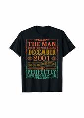 Born 2001 Man Myth Legend December 18th Bday Gifts 18 yrs old T-Shirt