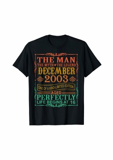 Born 2003 Man Myth Legend December 16th Bday Gifts 16 yrs old T-Shirt