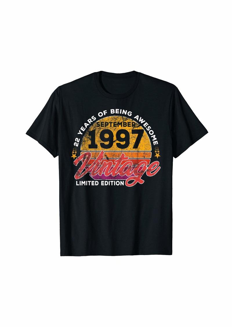 Born 22nd Birthday T Shirt Gift Vintage September 1997 Men Women