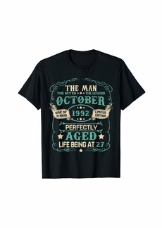 Born 27th Birthday Gifts The Man Myth Legend OCTOBER 1992 T-Shirt