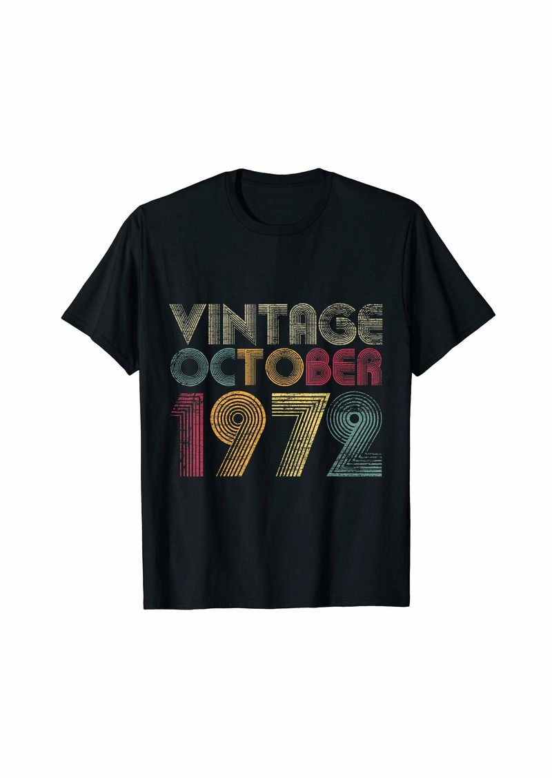 Born 47th Birthday Gifts - Vintage October 1972 T-Shirt