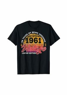 Born 58th Birthday T Shirt Gift Vintage September 1961 Men Women