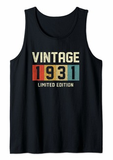 Born 90 Year Old Gifts Vintage 1931 Limited Edition 90th Birthday Tank Top