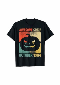Born Awesome Since October 1964 Vintage Pumpkin 55th Birthday T-Shirt