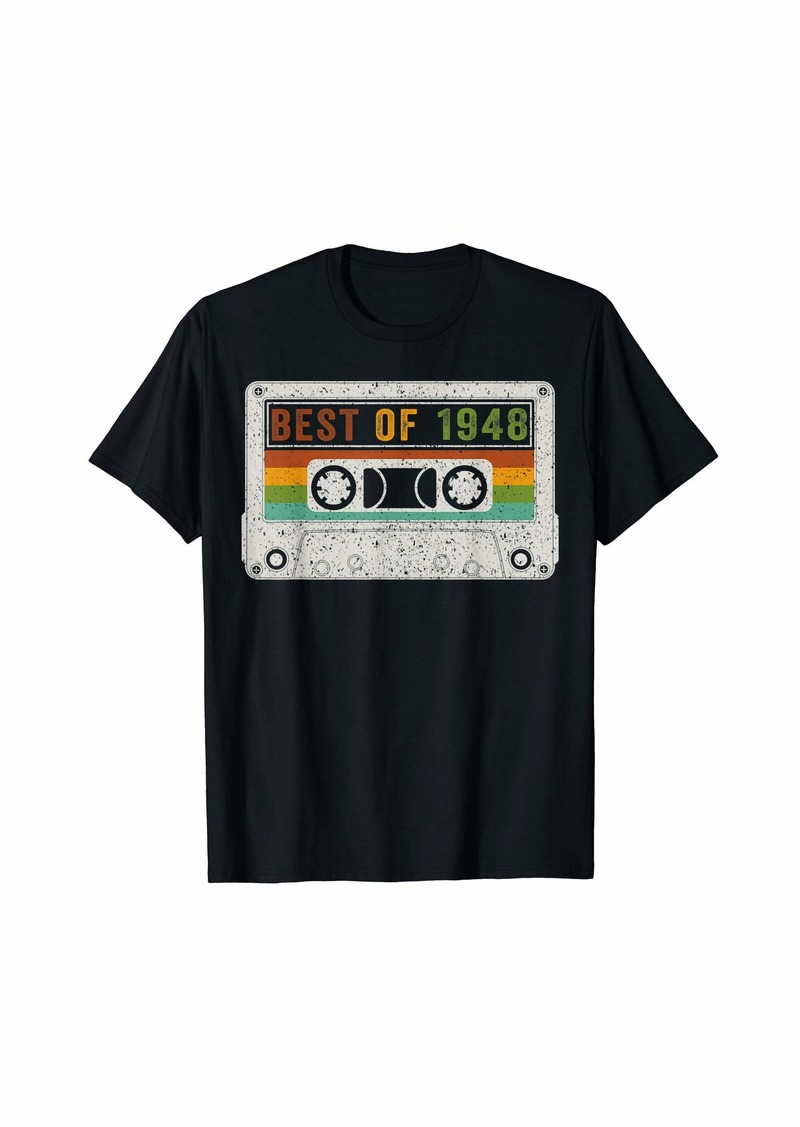 Born Best Of 1948 72th Birthday Cassette Vintage 72 Years Old T-Shirt