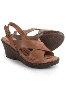 Born Ashley Cross-Strap Wedge Sandals - Leather (For Women)