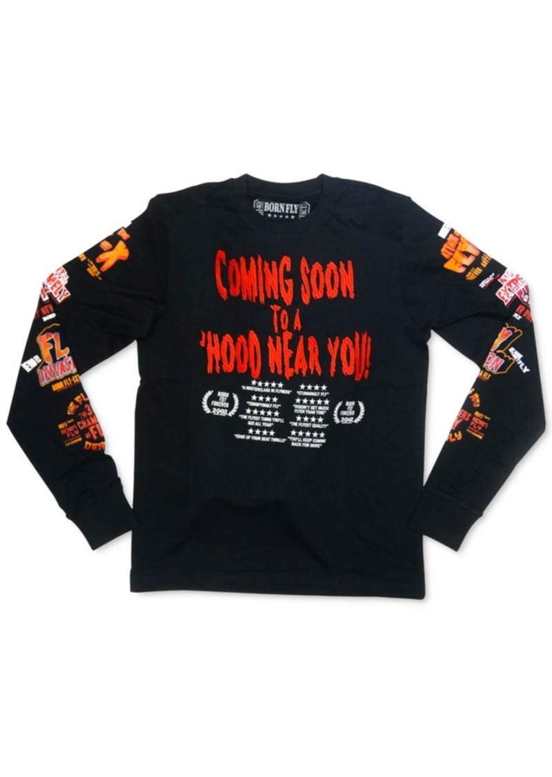 Born Fly Men's Slim-Fit Coming Soon Long-Sleeve T-Shirt