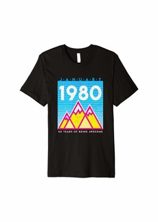 Born in January 1980 Awesome 40th Birthday Graphic Premium T-Shirt