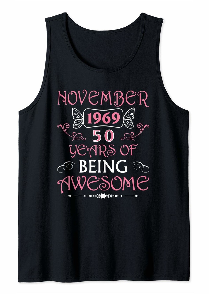 Born in November 1969 Awesome 50th Birthday Gifts 50 Bday Tank Top