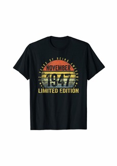 Born November 1947 Limited Edition Bday Gifts 72nd Birthday T-Shirt