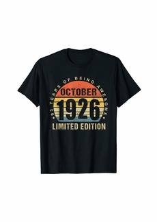 Born October 1926 Limited Edition Bday Gifts 93th Birthday T-Shirt