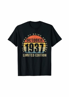 Born October 1937 Limited Edition Bday Gifts 82th Birthday T-Shirt