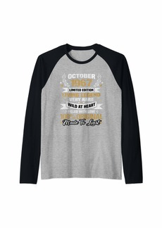 Born October 1967 Limited Edition Bday Gifts 52th Birthday Raglan Baseball Tee